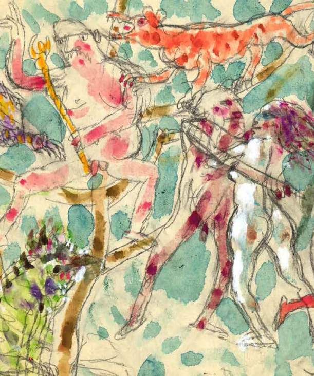 Albero della vita, dettaglio, 1985, grafite e acquarello su carta, 60 x 18 cm